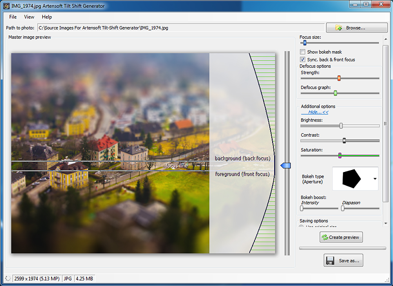 Windows 7 Artensoft Tilt Shift Generator 1.0 full